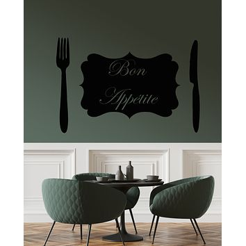 Vinyl Wall Decal Bon Appetite Quote Logo Fork Knife Stickers (3284ig)