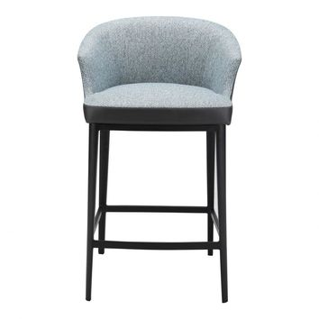 Linen Counter Stool with Round Back