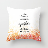 She leaves a little sparkle wherever she goes in rose gold Throw Pillow by blursbyaiShop | Society6