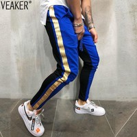 2018 Autumn New Men's High Street Sweatpants Trousers Male Side Stripe Hip Hop Sweatpants Jogger Pants Streetwear M-3XL