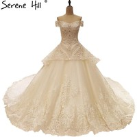 Luxury Beading Diamond Tulle Wedding Dresses White Bride Gown Real Picture