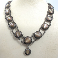 Art Deco Brown Lipped Shell Necklace, Sterling Silver Iridescent Shell Cabochon 1930's Sterling Paua Shell Mother Of Pearl Lavalier Necklace