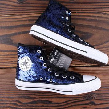 HCXX Converse all star sequin high-top sequined silver sneakers Blue