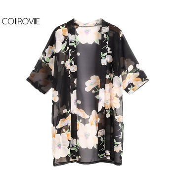 COLROVIE Floral Longline Kimono Women Black Chiffon Blouse Open Front Casual Summer Tops 2017 Fashion Semi Sheer Beach Kimono