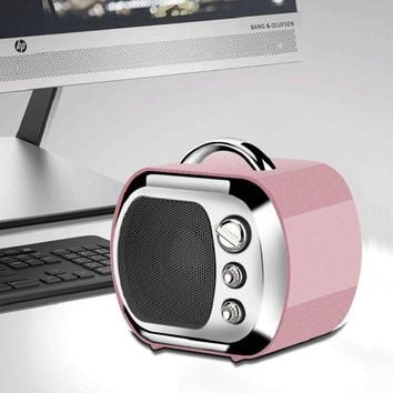 TV Shape Mini Wireless Bluetooth 4.2+EDR Speaker HIFI Stereo Bass Speaker