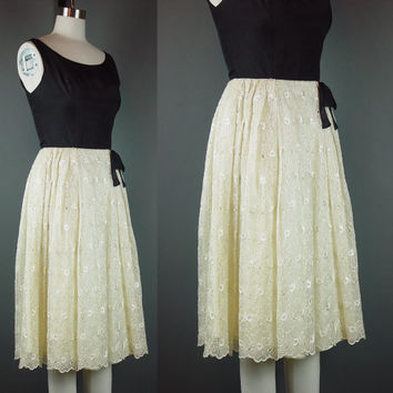 Vintage 60s Party Dress Black Cream 1960s Cocktail Formal X Small XS