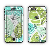 The Green & Blue Subtle Seamless Leaves Apple iPhone 6 Plus LifeProof Nuud Case Skin Set