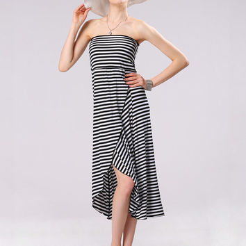 White and Black Striped Asymmetrical Strapless A-line Maxi Dress