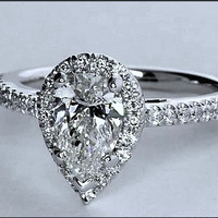 2.36ct Pear Shape Diamond Engagement Ring GIA certified 18kt White Gold JEWELFORME BLUE