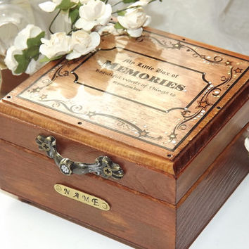 PERSONALISED MEMORY Box. My Little Box of Memories. Write and Store Memories in this  Wooden box with its own note pad & pencil
