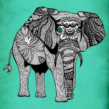 Tribal Elephant Black and White Version Art Print by Pom Graphic Design