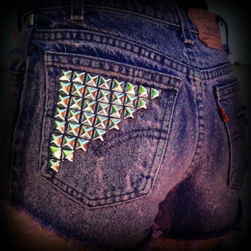 Vintage High Waisted Studded Cut Off Levis by TrueBlueDryGoods