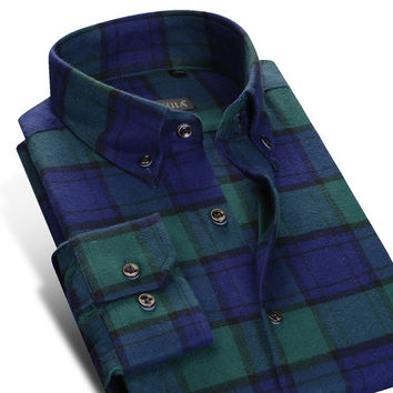 Men's Flannel Plaid Polo