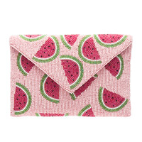 From St Xavier Juicy Pouch Clutch in Pink & Green