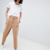 ASOS DESIGN self buckle and belt tapered trouser at asos.com