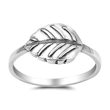 .925 Sterling Silver Leaf Leaves Ladies Fashion Ring Size 4-10
