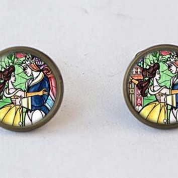 Beauty and the Beast earrings,studs / dangle earrings,girlfriend gift Bridesmaid Gift stud earrings