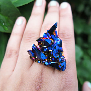 Raw Crystal Mystic Midnight Quartz Ring