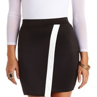 Color Block Bodycon Envelope Mini Skirt - Black/White