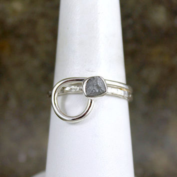 Raw Diamond Engagement Ring - Sterling Silver - Looped Design - Rough Diamond Ring - April Birthstone - Anniversary Ring
