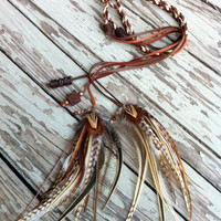 pretty natural brown feathers and braided leather headband