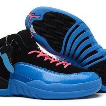 Hot Air Jordan 12 Retro Women Shoes GS Taxi Black Blue