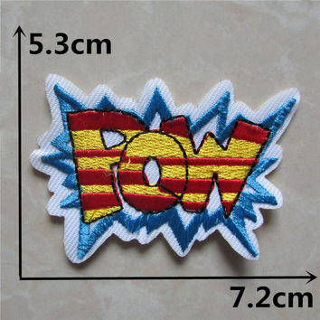 1pcs POW slogan Hot melt glue embroidered iron cloth accessories New arrival popular cartoon Patches Appliques accessory