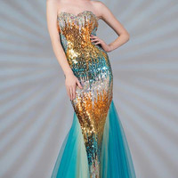 PRIMA C132513 Sequin Mermaid Prom Dress