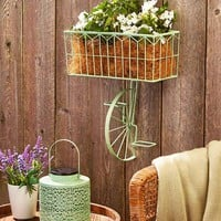 Vintage Distressed Finish Metal Bicycle Wall Basket or Solar Lantern Indoor Outdoor Unique Decor