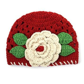Baby Kids Girls Cute Red Big Flowers Knit Crochet Hollow Hat Winter Hats Caps