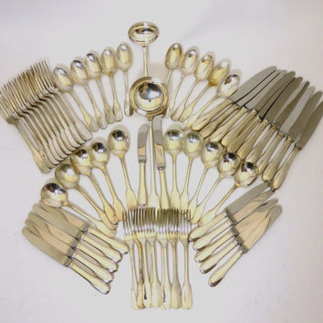 CHRISTOFLE Cutlery STERLING Silver - CLUNY - Set for 10 Persons - 64 Piece Set