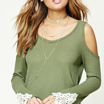 Waffle Knit Open-Shoulder Top