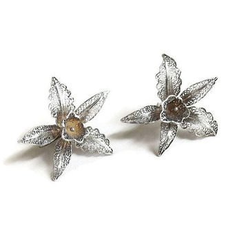 Sterling Silver Filigree Orchid Flower Earrings Vintage Art Deco Period