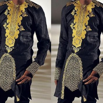 New African Style African dashiki men's clothing traditional national hot gold printed long-sleeved shirt