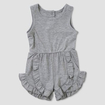 Baby Girls' Afton Street Sleeveless Ruffle Romper - Light Pebble