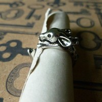 Silver Deer Ring sz 6-7
