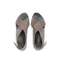 SUMMER SALE, Flat Crossed Grey sandals
