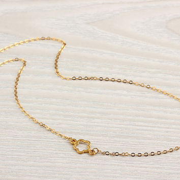 "Chrysanthemum gold necklace, tiny gold flower necklace, bridesmaid necklace, assymetric necklace, vermeil, charm necklace, ""Chrysanthemum"""