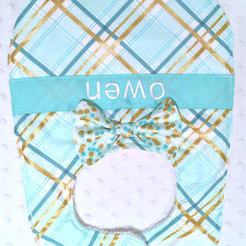 Personalized Bib with Matching Bow or Bow Tie - Gender Neutral Aqua Teal and Metallic Gold Plaid