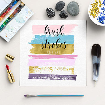 Brush Strokes Clipart | Pink, Orchid, Gold Graphic Elements | Paint Clip Art | Ink Strokes  | BUY5FOR8