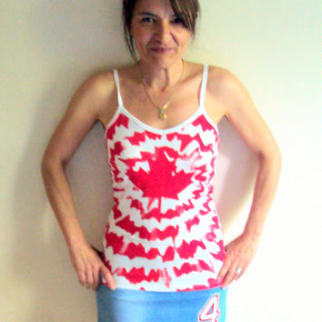 NEW! Canada Tank Top Women's Sexy Tie Dye Top Beautiful Red Canada Maple Leaf T-Shirt Yoga Fitness Workout Beach Top Women Summer Tops