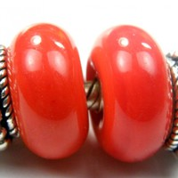 Opaque Red Carrot Special Orange Handmade Lampwork Glass Beads 424 Shiny (Choices of Etched, .999 Fine Silver, Shapes, Sizes, Large Hole Beads Extra)