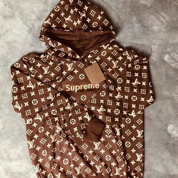 Louis Vuitton x Supreme Box Logo Coffee Hoodie