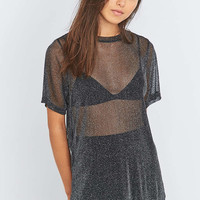 Light Before Dark Lurex Oversized T-shirt - Urban Outfitters