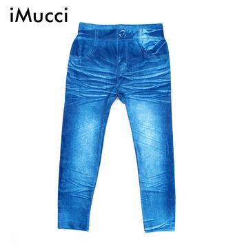 iMucci Children's 3-8 Age Autunm Cute Leggings Spring Kids Digital Printing Jeans Boy Girl Baby Cartoon Pattern Trousers Pants