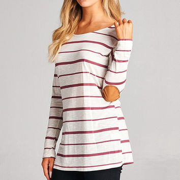Suede Elbow Patch Striped Tunic