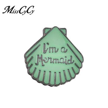 MissCyCy 2018 New Creative Cartoon Brooch Green Shell Brooch Button Pins Coat T-shirt Pin Mermaid Letters Brooch Pins