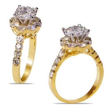 Ladies' 2 CT White Diamonds Engagement Ring with cluster head in 14k Yellow Gold