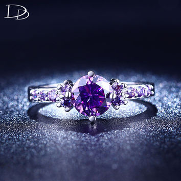 wedding engagement rings for women white gold plated charm purple Austrian crystal ring vintage CZ diamond jewelry aneis DD199