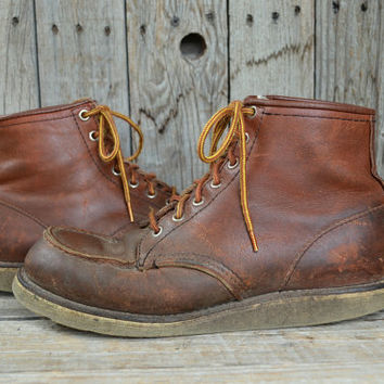Vintage Ankle Cut RED WING Irish Setter Moc Toe Americana Work Boots, Mens 7